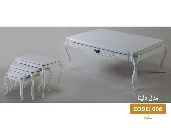 جلومبلی و عسلی دلینا سفید مدل 006 ام دی اف وکیوم پایه پلیمری