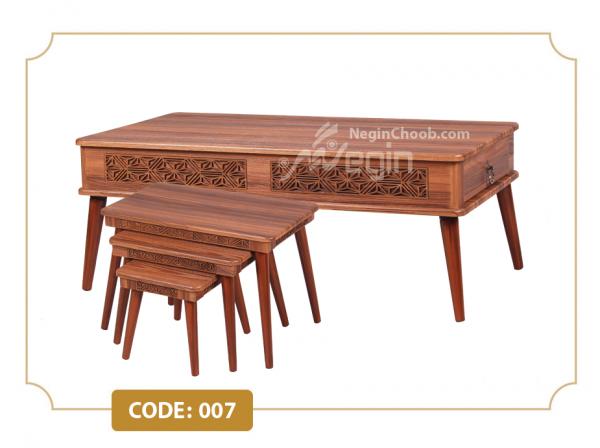 خرید جلومبلی و عسلی راژان مدل 007 صفحه MDF وکیوم پایه چوبی