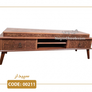 میز تلویزیون سپیدار کد 00211 ام دی اف وکیوم پایه پلیمری