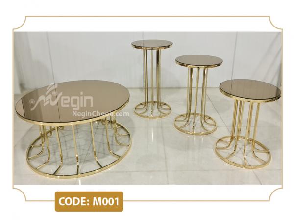 میز جلومبلی پایه فلزی ستونی کد M001 طلایی،نقره ای و فورتیک