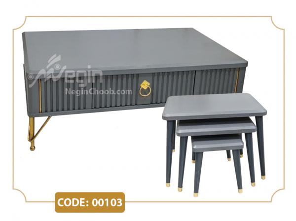 جلومبلی و عسلی مدل 00103 صفحه MDF وکیوم پایه فلزی طلایی